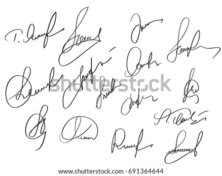 Manual Signature Documents On White Background 스톡 벡터(사용료