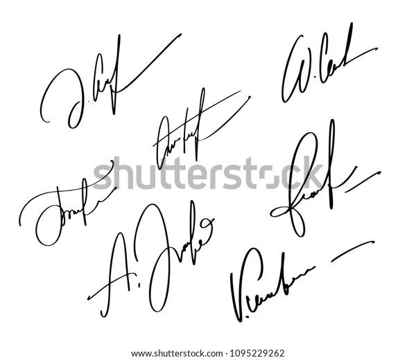 Manual Signature Documents On White Background Stock