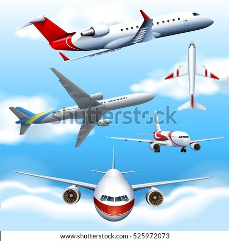 many airplanes flying sky