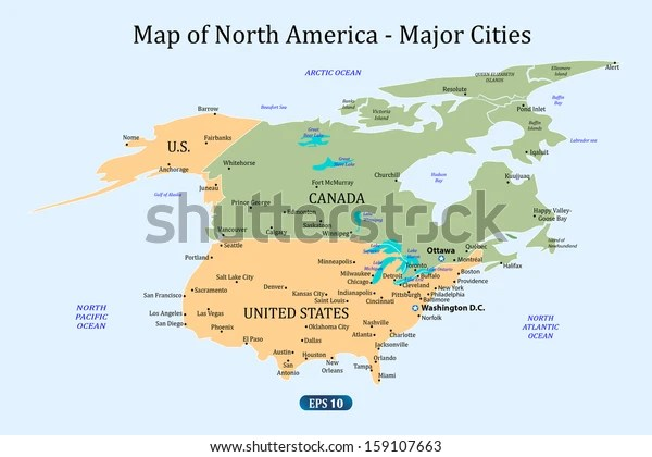 Lately, we've been noticing a trend of pe. Map North America Major Cities Vector Stock Vector Royalty Free 159107663
