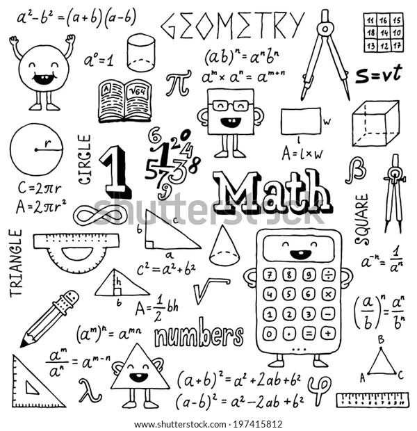 Math Doodles Hand Drawn Vector Illustration Stock Vector