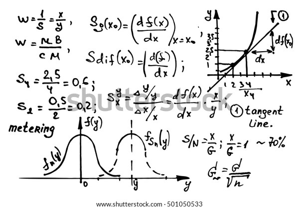 Mathematics Equations On Whiteboard Education Vector Stock