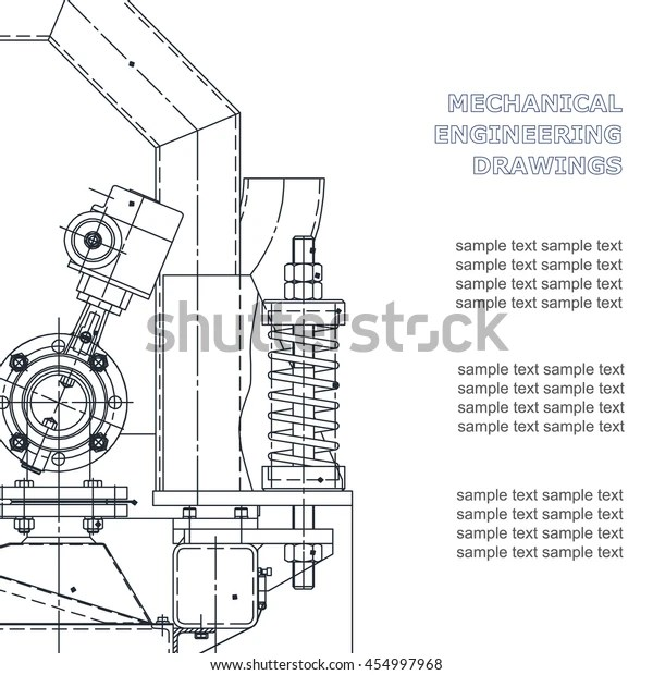 Mechanical Engineering Drawing Technical Illustrations