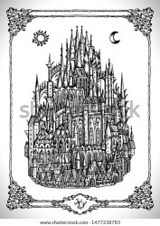 Mediaval Castle Town Towers Vector Line Stock Vector Royalty Free 1477238783