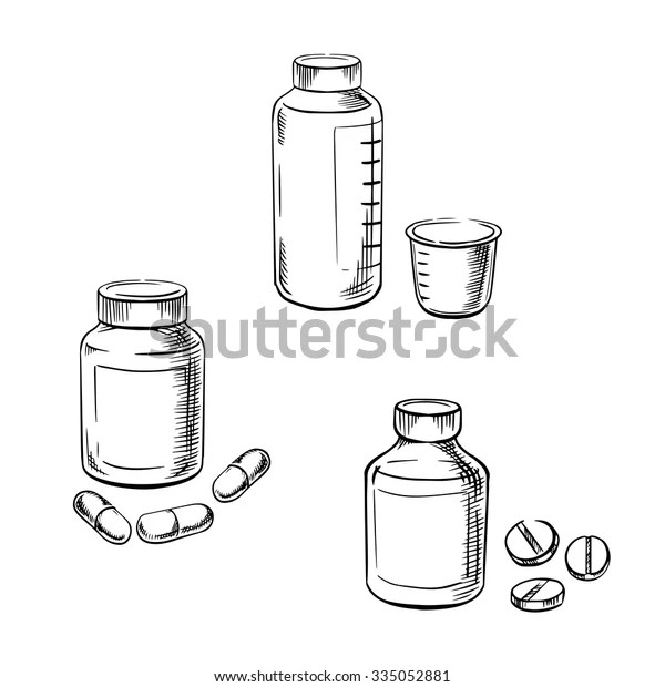 Medical Bottles Pills Capsules Cough Syrup Stock Vector