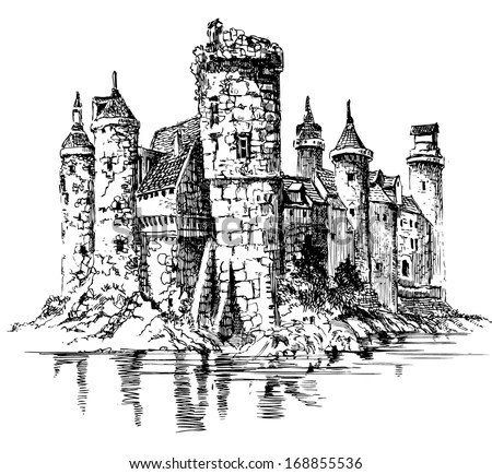 Medieval Castle Graphic Drawing Stock Vector (Royalty Free