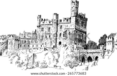 Medieval Castle Isolated On White Background Stock Vector