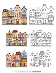 Medieval Houses Design Elements Clip Art Stock Vector Royalty Free 289841543