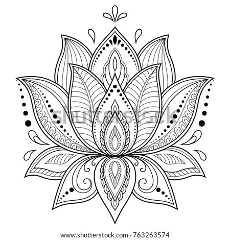 Mehndi Lotus Flower Pattern Henna Drawing Stock Vector