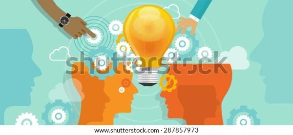 Merge Collaboration Idea Gear Bulb Business Stock Vector (Royalty Free) 287857973