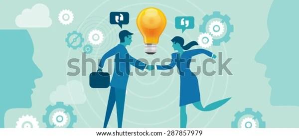 Merge Collaboration Idea Gear Bulb Business Stock Vector (Royalty Free) 287857979