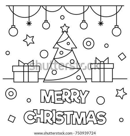 Merry Christmas Coloring Page Black White Stock Vector