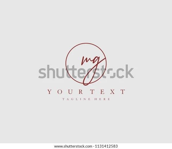 Mg Letter Logo Manual Elegant Minimalist Stock Vector