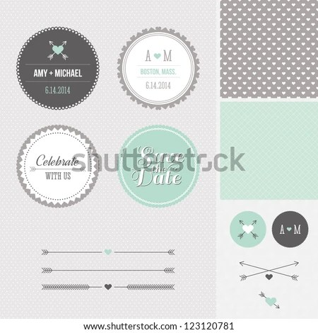 mint gray save date