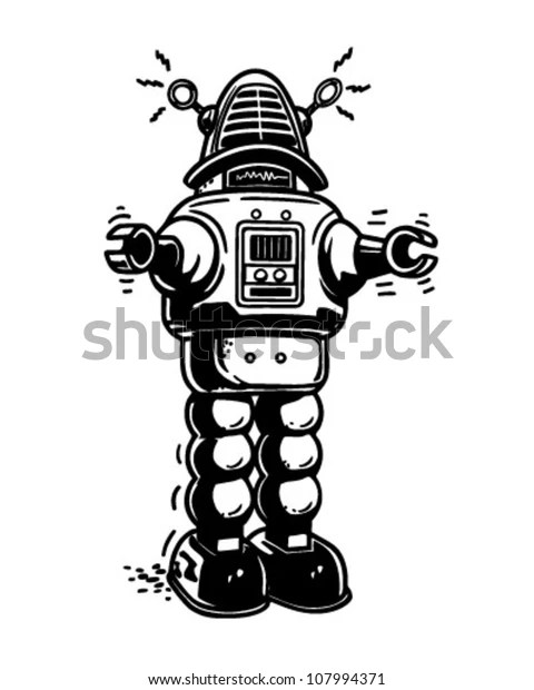 Mister Robot Retro Clipart Illustration Stock Vector