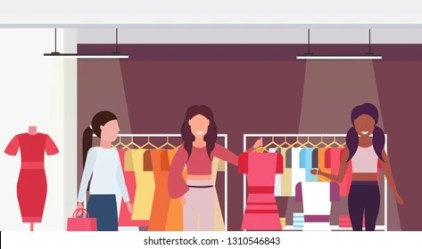 cartoon clothes shopping mall interior customers holding race mix dresses shutterstock horizontal boutique portrait characters flat female
