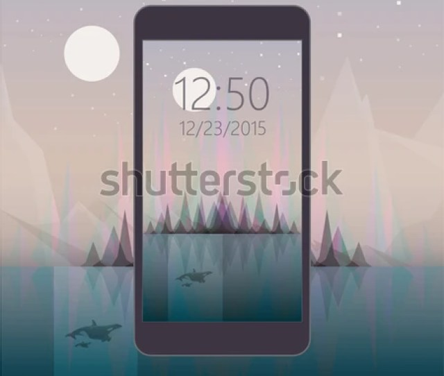 Mobile Phone Wallpaper Design Abstract Night Scenery Landscape With Aurora Borealis Northern Lights Effect
