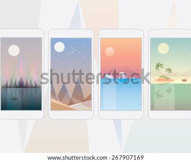 Mobile Phone Wallpaper Landscape Designs Abstract Geometric Triangular Style Illustrations Of Arctic Northern Lights