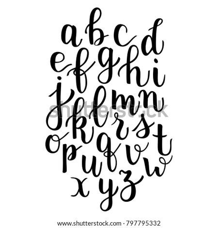 Modern Calligraphy Bounce Lettering Alphabet Hand Vector