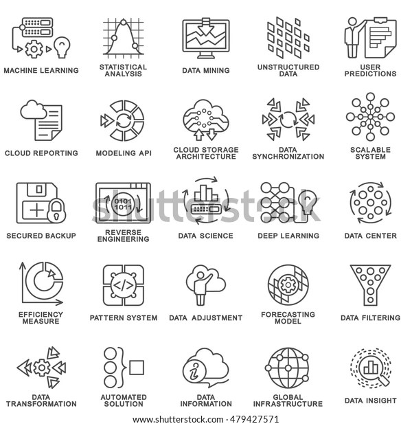 Modern Contour Icons Database Processing Methods Stock
