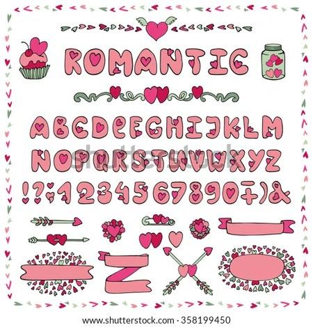 Download Modern Vector Romantic Alphabet Love Doodle Stock Vector ...