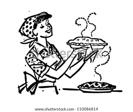 Mom Fresh Baked Pies Retro Clipart Stock Vector (Royalty