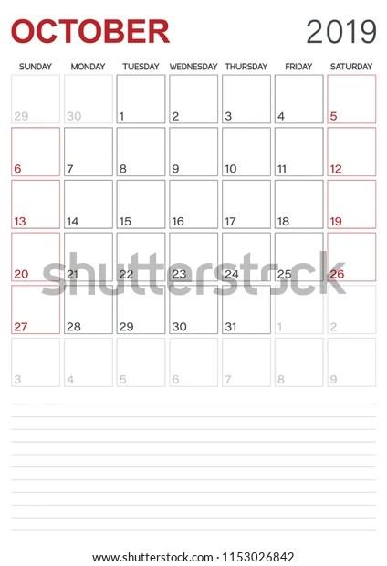 Monthly Planner Calendar October 2019 Week Stock Vector