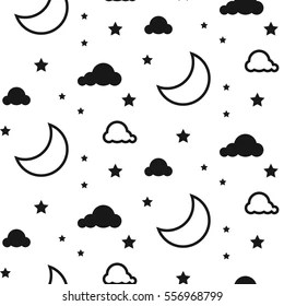 Black White Moon Stars Images, Stock Photos & Vectors
