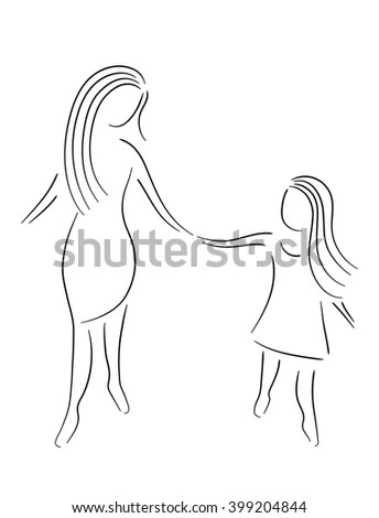 Mother Daughter Holding Hands Stock Vector (Royalty Free