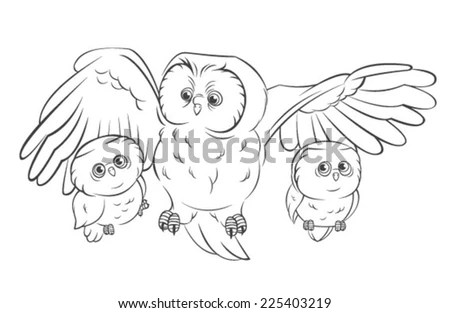 Mother Owl Baby Owl Stock Vector (Royalty Free) 225403219