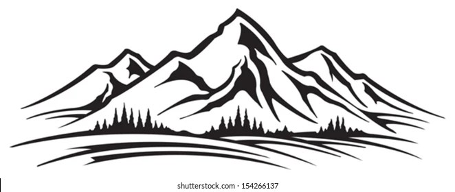 Mountain clipart Tree clipart and Silhouettes t