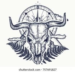 Bison Skull Tattoo Images Stock Photos Vectors Shutterstock