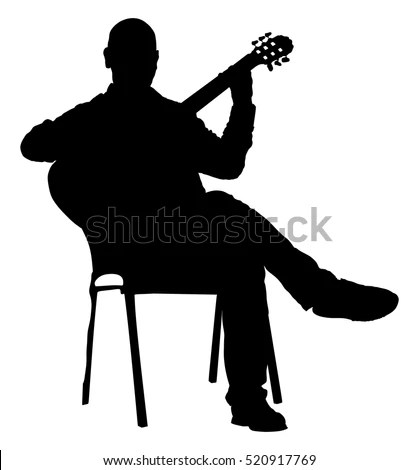 guitar playing chair red leather recliner music man sitting on stock vector royalty free the with guitarist silhouette illustration player