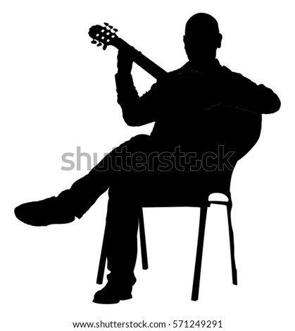 guitar playing chair large tub music man sitting on stock vector royalty free the with guitarist silhouette illustration player