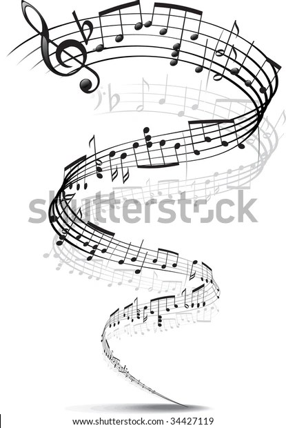 Music Notes Twisted Into Spiral Stock Vector (Royalty Free