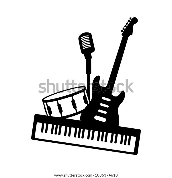 Music Pop Rock Band Icon Black Stock Vector (Royalty Free