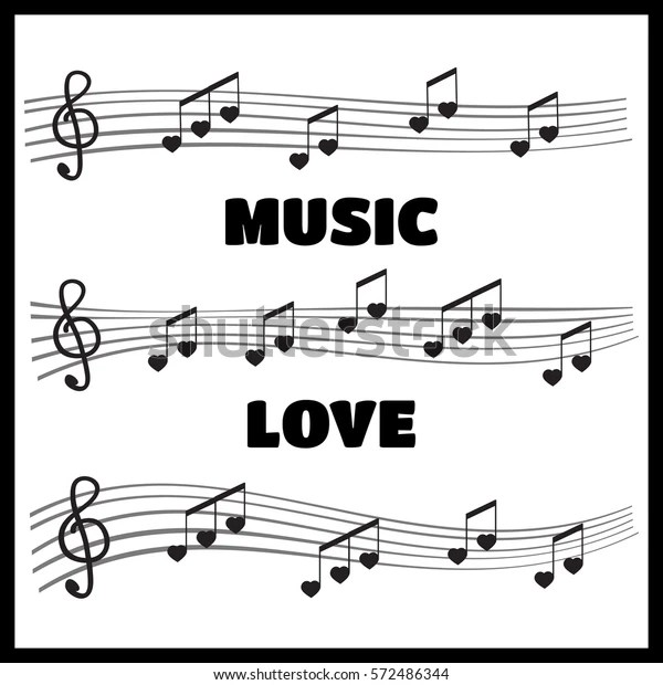 Musical Notes Chords Heart Music Love Stock Vector