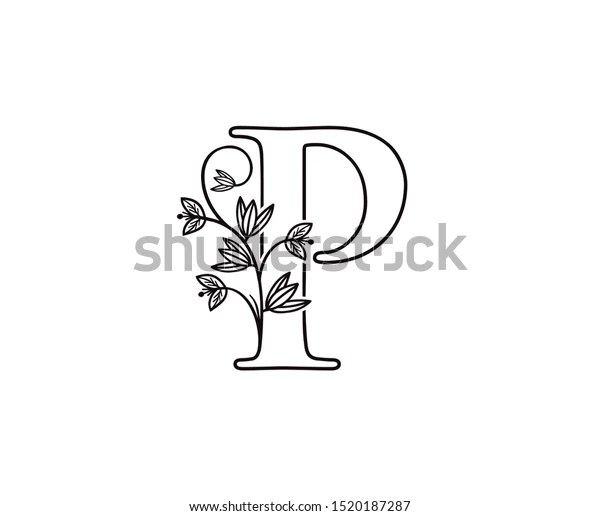 Nature Letter P Leaf Icon Logo Stock Vector (Royalty Free