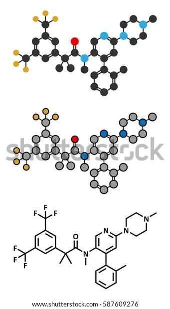 Netupitant Drug Molecule Nk1 Receptor Antagonist Stock Vector (Royalty Free) 587609276