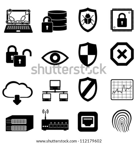 Network Computer Cyber Security Icon Set Stock Vector