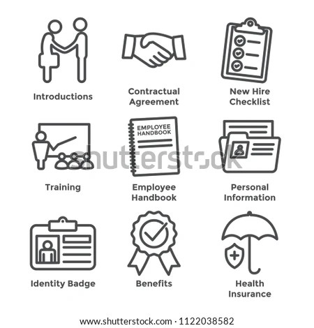 New Employee Hiring Process Icon Set Stock Vector (Royalty