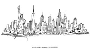 skyline york drawing shutterstock nyc drawings draw sketch drawn vectors illustrations