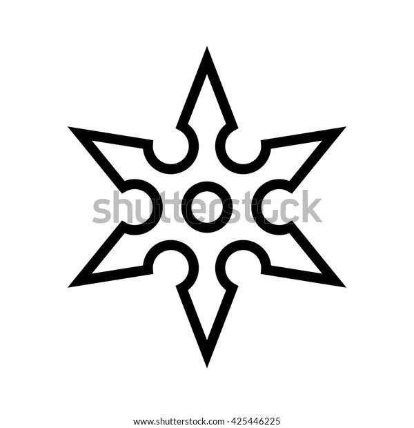 Ninja Shuriken Throwing Star Line Vector Stock Vector