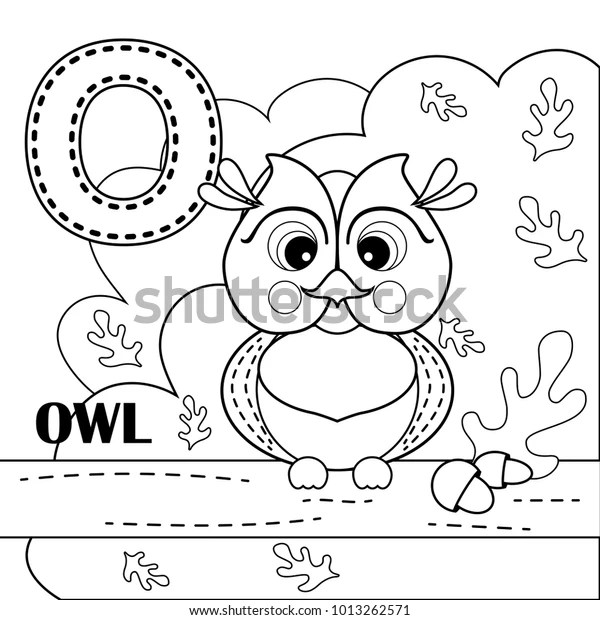 O Letter Owl Coloring Book Page Stock Vector (Royalty Free