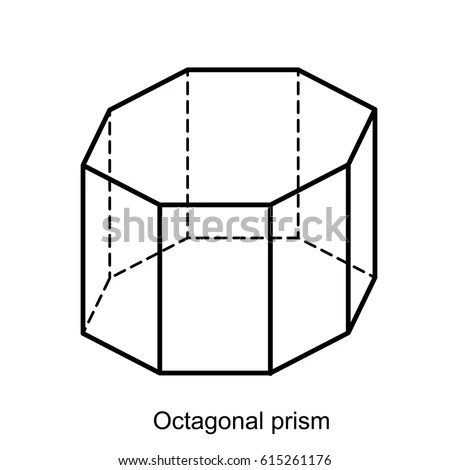 Octagonal Prism Vector Geometric Shapes Preschool Stock