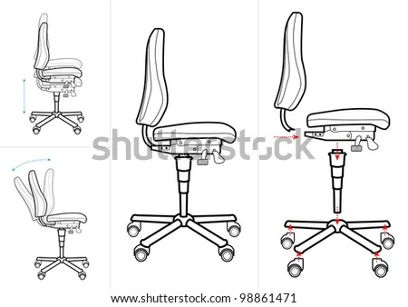 Office Chair Instructions Drawing Stock Vector (Royalty
