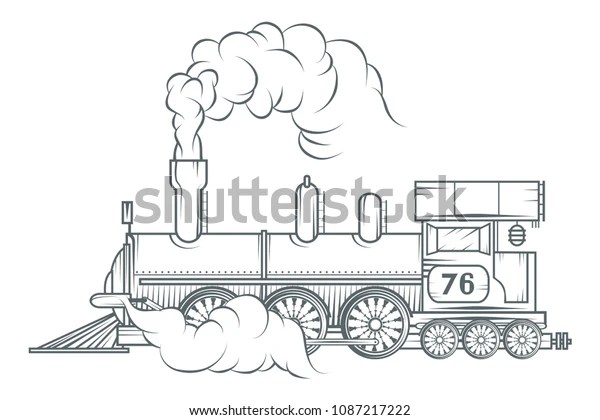 Old Train Logo Locomotive Drawing Steam Stock Vector