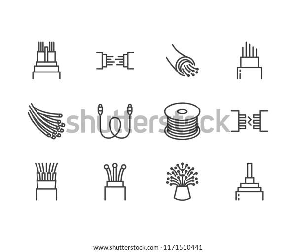Optical Fiber Flat Line Vector Icons Stock Vector (Royalty