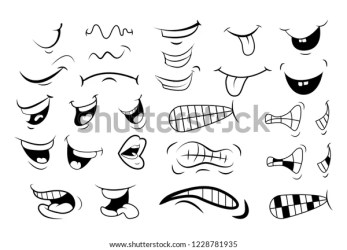 Outline Cartoon Mouth Set Tongue Smile Stock Vector Royalty Free 1228781935