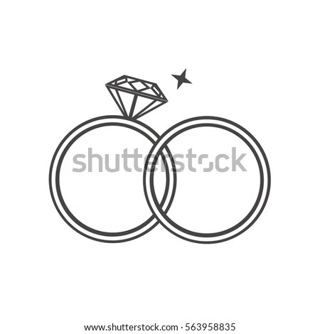Outline Engagement Wedding Rings Stock Vector (Royalty